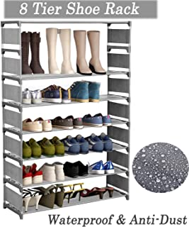Modrine 8 Tiers Shoe Rack, Free Standing Shoe Racks Shoes Organizer - Holds 32 Pairs of Shoes (Grey)