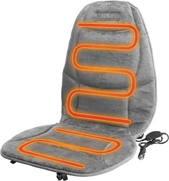 HealthMate IN9438-2 12V Velour Winter Seat Cushion with Lumbar Support, Heating with Easy Controller, Color Gray, Products by Wagan: image