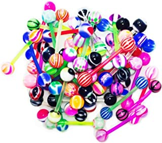 10-100PC Tongue Barbells Nipple Rings 14G Mix Acrylic Ball Steel Flexible Piercing Jewelry