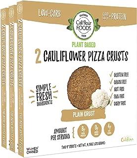 Cali'flour Foods Plant-Based Pizza Crust (Plain, 3 Boxes, 6 Crusts) - Fresh Cauliflower Base | Vegan, Low Carb, High Protein, Gluten and Grain Free | Paleo Friendly