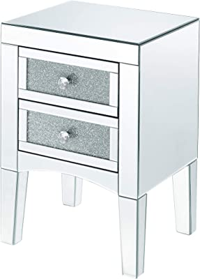 Oscar Mirrored Square Side End Table Night Stand Modern Nightstand Set 2 Accent Table with 3 Drawers