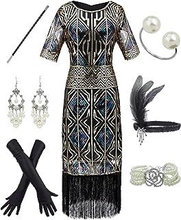 YENMILL 1920s Art Fringed Sequin 20s Flapper Gatsby Costume Plus Dress w/Accessories