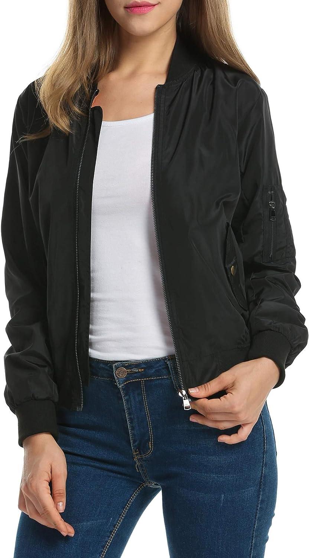 Zeagoo Women's Bomber Jacket Casual Coat Zip Up Outerwear Windbreaker