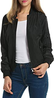 Women Classic Solid Biker Jacket Zip up Bomber Jacket Coat