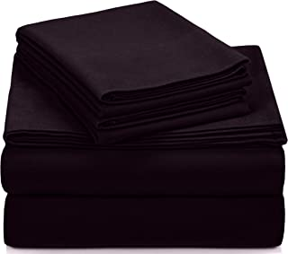 Pinzon Signature Cotton Heavyweight Velvet Flannel Sheet Set - Queen, Aubergine