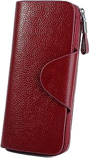 YALUXE Women's RFID Blocking Large Tri-fold Leather Wallet Ladies Luxury Zipper Clutch Red