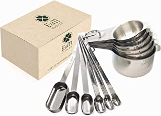 Stainless Steel Measuring Cups and Measuring Spoons Combo Set, Stackable, Dishwasher Safe, Engraved Markings, Easy Read for Cooking/Baking, Metric Measurement, Heavy Duty, Dry or Liquid