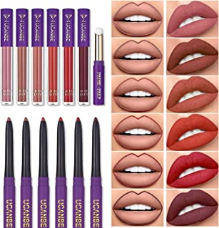 UCANBE 13pcs Lady's Night Lipstick Makeup Set, 6 Velvety Matte Liquid Lipsticks + 6 Matching Smooth Lip Liner + 1 Moisturi...