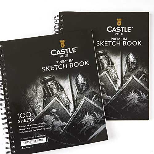 Castle Art Supplies 2 carnets de croquis 23 x 30 cm, 200 feuilles de papier dessin, idéal pour l'école ou les fournit...