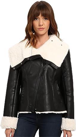 Steve Madden Asymetric Zip PU Shearling Jacket