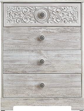 Signature Design by Ashley Paxberry Boho Four Drawer Chest, Whitewash