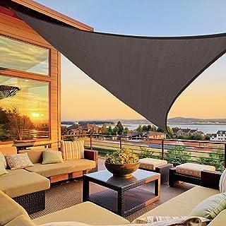 LOVE STORY 12' x 12' x 12' Triangle Brown Sun Shade Sail Canopy UV Block Awning for Outdoor Patio Garden Backyard