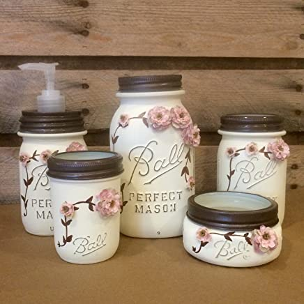 Cottage Chic Ivory and Rose Vintage Mason Jar Bathroom Set or Office Desk Organizer