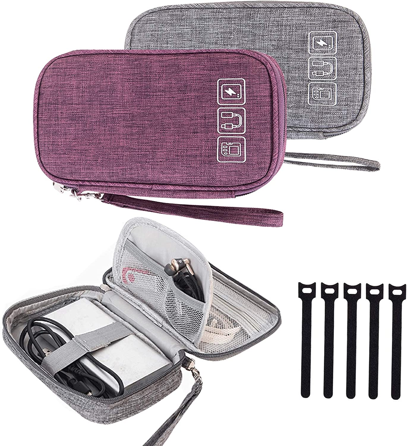Cable Organizer Bag, 2 PCS Travel Cord Organizer Case Small Electronic Accessories Carry Bag Portable for Cable, Cord, Charger, Hard Drive, Earphone, USB,SD Card with 5 Cable Ties (Gray+Purple)