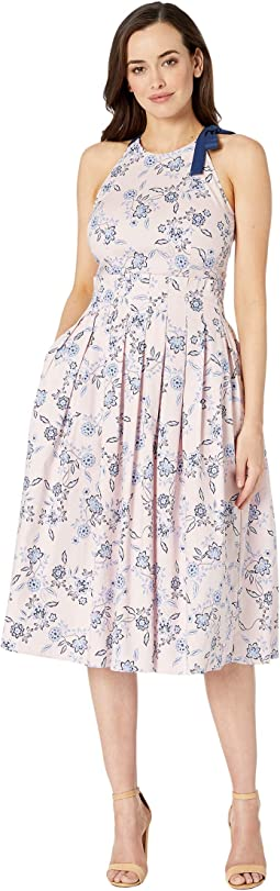 Halter Neck Stretch Cotton Poplin Midi Dress w/ Paper-Bag Waist