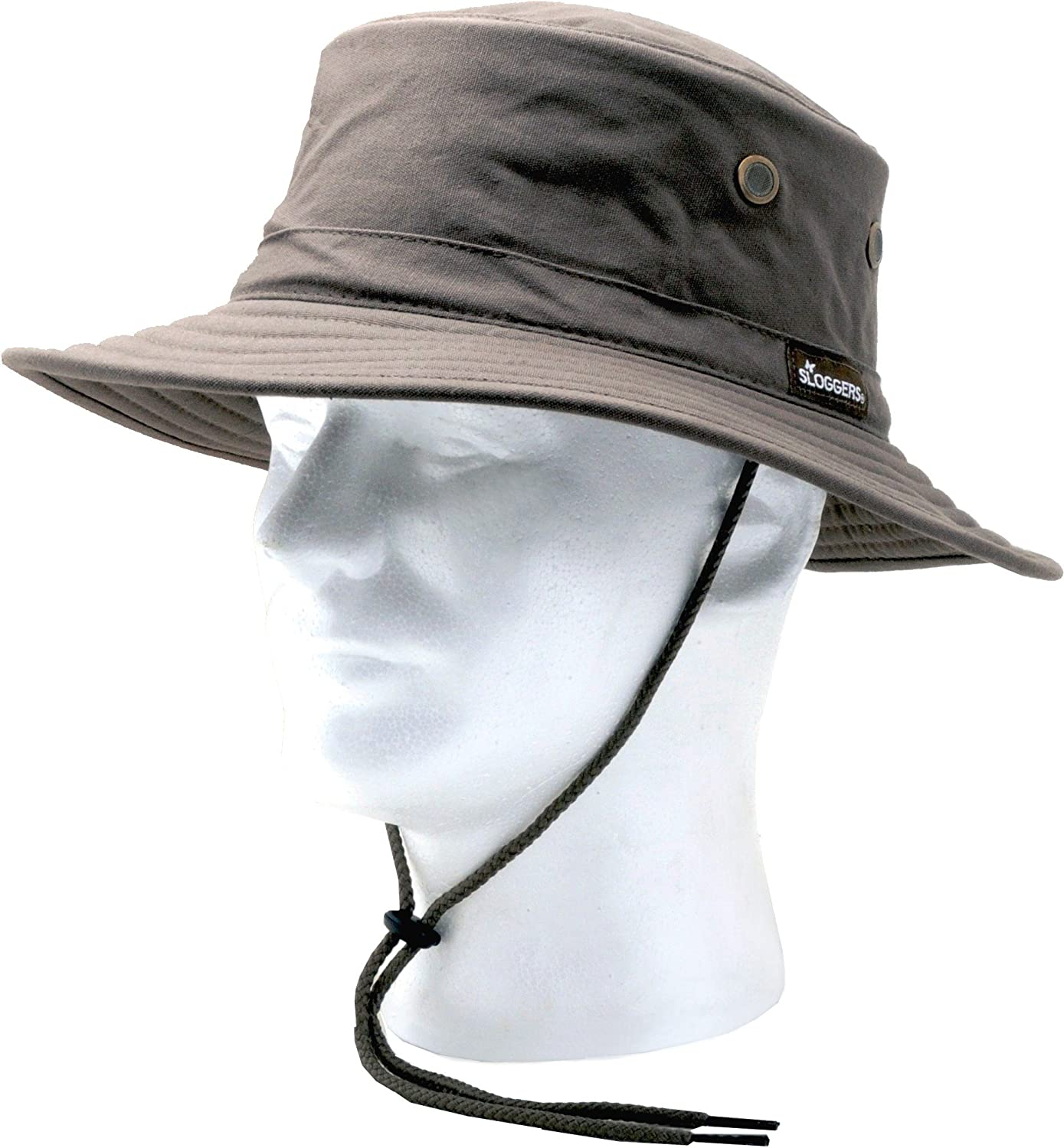 Sloggers Classic Cotton Hat with Wind Lanyard, Dark Brown, UPF 50+ Maximum Sun Protection, Style 4471DB,Adjustable Medium to Large
