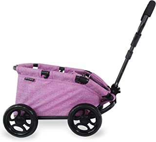 TRIOKID My First Kids Toy Wagon for Doll Trioswagon Grape Purple Deluxe Outdoor Doll Stroller Drawable Fabric with Adjustable Handle