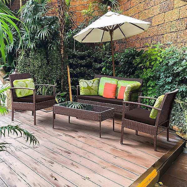 Tangkula 4 Piece Outdoor Furniture Set Patio Garden Pool Lawn Rattan Wicker Loveseat Sofa Cushioned Seat Glass Top Coffee Table Modern Wicker Rattan Conversation Set Brown