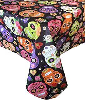 Newbridge Dia De Los Muertos Halloween Vinyl Flannel Backed Tablecloth - Spooky Day of The Dead Skeleton Mask Halloween Floral Tablecloth, Easy Care Wipe Clean, 52 in x 70 in Oblong/Rectangle