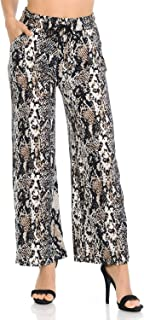 Auliné Collection Womens High Waisted Loose Wide Leg Drawstring Palazzo Pants