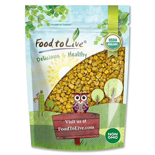 Organic Super Sweet Corn, 4 Ounces - Freeze-Dried Kernels, Non-GMO, Kosher, Raw, Healthy Snack, Bulk, Grown in the USA