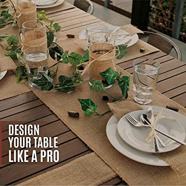 Designer Burlap Table Runner - for Farmhouse-Style Dining Room - Woven Jute Fabric Placemats or Centerpieces - Rustic Home De