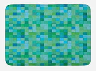 Ambesonne Teal Bath Mat, 3D Cube Pattern Abstract Squares Vibrant Colored Geometric Shapes Design Modern, Plush Bathroom Decor Mat with Non Slip Backing, 29.5