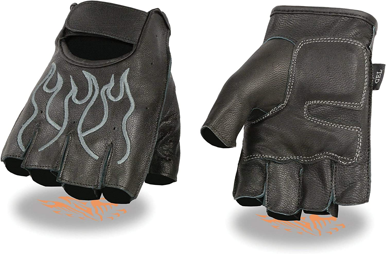 Milwaukee Manufacturer regenerated product Leather Max 41% OFF SH198 Men's Black Flamed Grey and Embroidered