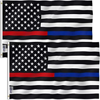 Best ANLEY Pack of 2 Fly Breeze 3x5 Foot Thin Blue Line and Red Line USA Polyester Flag - Vivid Color and Fade Proof - Honoring Law Enforcement Officers and Firefighter Polyester Flags 3 X 5 Ft Review