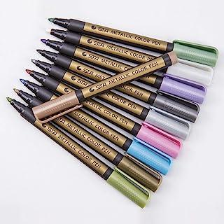 Metallic Marker Pens, Set of 10 Assorted Colours Painting Pens Art Marker for Card Making, Scrapbooking, DIY Photo Album, ...