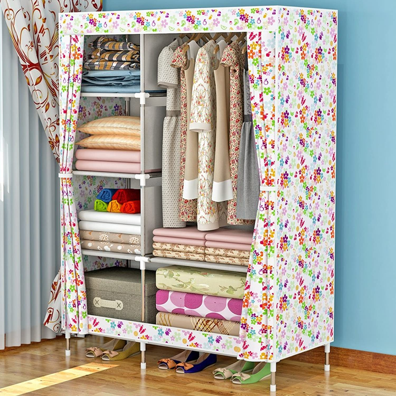 MMM& Simple Wardrobes Single Small Folding Thickening Fabric Assembly Steel Frame Cloth Wardrobe (color    3)