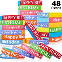 48 Pieces Happy Birthday Rubber Bracelets Silicone Stretch Wristbands Colored Silicone Bracelets for Birthday Party Supplies