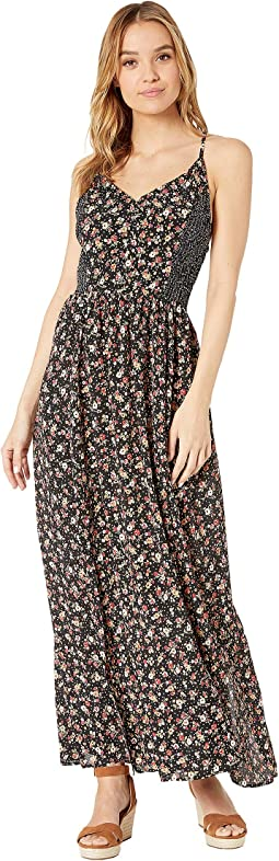 Smocked Sides Racerback Twin Print Maxi Dress