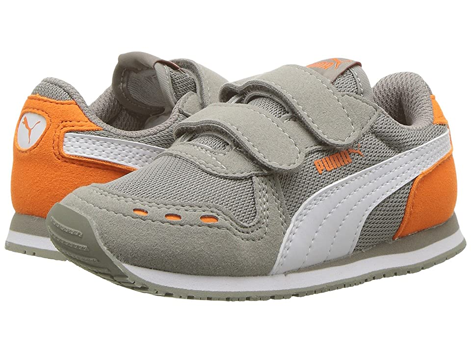 Puma Kids Cabana Racer Mesh V (Toddler) (Rock Ridge/PUMA White/Vibrant Orange) Boys Shoes