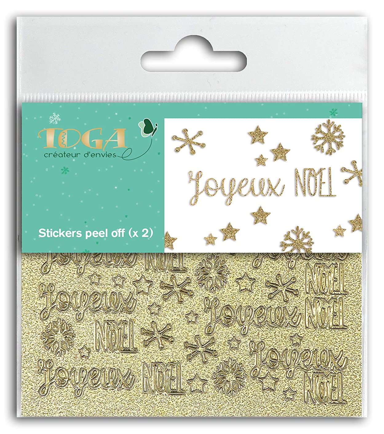 Toga Merry Christmas Set of 2 Peel Off Stickers, Plastic, Gold Glitter, Board Size: 10 x 10 cm