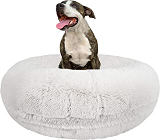 Bessie and Barnie Signature Snow White Luxury Shag Extra Plush Faux Fur Bagel Pet / Dog Bed (Multiple Sizes)