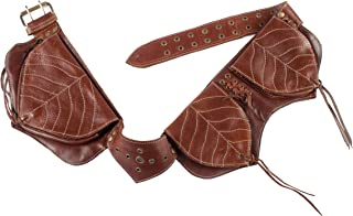 Sleek and Studded Leather Hip Belt-Brown-One Size