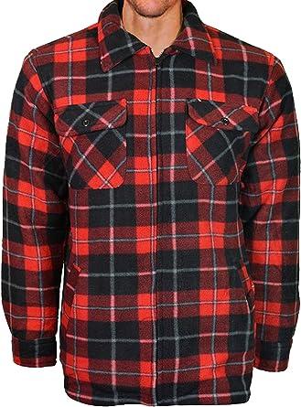 Camisa de trabajo de tela polar para hombre, con forro suave y acolchado, a cuadros, estilo leñador