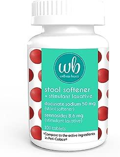 Wellness Basics Stool Softener with Laxative Docusate Sodium 50 Mg Sennosides 8.6 Mg Tablet, 100 Count