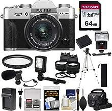 Fujifilm X-T30 Wi-Fi Digital Camera & 15-45mm XC OIS PZ Lens (Silver) + 64GB Card + Battery/Charger + LED Light + Mic + Tripod + Flash + Case + 2 Lens Kit
