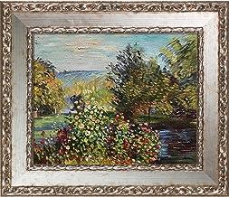لوحة زيتية لركن الحديقة في مونتجيرون من كلود مونيه، مقاس 20.32 سم × 25.4 سم، إطار صالون فضي فرساي