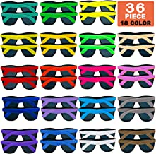 36 Pack 18 Colors Neon Sunglasses Party Favors, 80's Style for Pool Party,Beach Party,Christmas Celebration,Thanksgiving,Carnival,Graduation Party, Classroom prize,Summer Party,Birthday Party,for Girls Boys Teens Adults