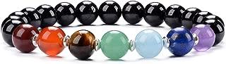 Chakra Stretch Bracelet | Genuine Natural 8mm Gemstones Beads, Sterling Silver Spacers | Men/Women | Small, Medium, Large Sizes