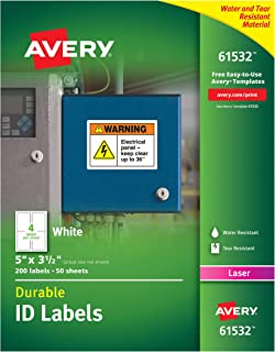 """Avery Durable White Cover Up ID Labels for Laser Printers, 5"""" x 3.5"""", Pack of 200 (61532)"""