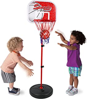 Kiddie Play Basketball Hoop Stand Toy Set for Kids Adjustable Height up to 4 ft