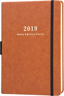 2019 Planner - Weekly & Monthly Planner with Calendar Stickers, A5 Premium Thicker Paper with Pen Holder, Inner Pocket and 88 Notes Pages