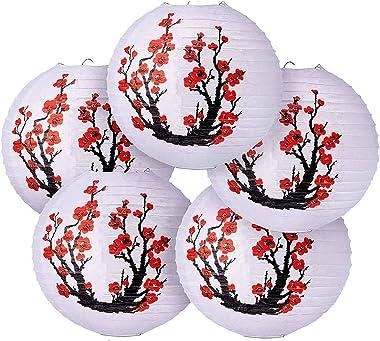 CUHAWUDBA 6 Pack 12 Pouces Rouge Cerisier Fleurs Lanterne en Papier Blanc Rond Chinois Japonais Lampe en Papier pour la DéCor