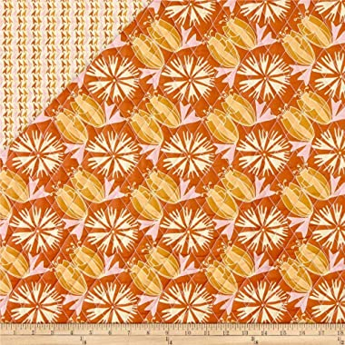 Fabri-Quilt Paintbrush Studio Fabrics Bloom Pre-Quilted Tulips & Flowers Orange/Tan Fabric by the Yard