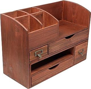 $49 » Large Adjustable Vintage Rustic Wooden Office Desk Organizer & Mail Rack for Desktop, Tabletop, or Counter – Cherry Wood Storage Shelf Rack – for Office Supplies, Desk Accessories, or Mail