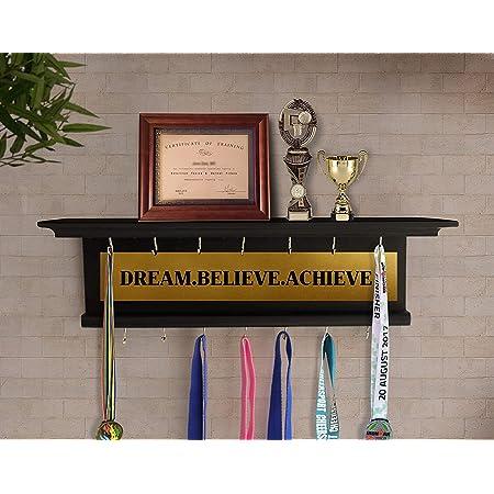 Odestar Medal AwardsRack Premier Award Medal Display Rack and Trophy Shelf- Large-Brown